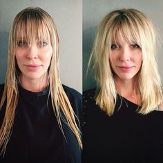 Like this mid length middle part with bangs