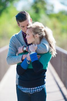 fall engagement shoot. Love the color block sweater