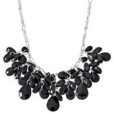 Fashion Statement Cluster Necklace - Silver/Black