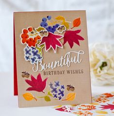 Bountiful Birthday Wishes Card by Betsy Veldman for Papertrey Ink (August 2016)