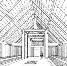 Reconstruction of the interior of the Viking Age hall at Lejre. On both sides against the walls are tiered side benches where people sat and slept at assigned places. At meal times tables were placed before the benches. In the center of the floor are sto Historical Architecture, Ancient Architecture, Architecture Design, Viking House, Viking Life, Ancient Vikings, Norse Vikings, Medieval, Viking Hall