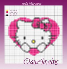 Hello Kitty heart hama beads pattern (4x234) by aux4mains