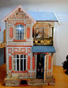 Famous German Gottschalk doll house blue roof - 1895.. .....Rick Maccione-Dollhouse Builder www.dollhousemansions.com