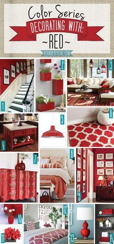 diy home decor Color Series; Decorating with Red. Red home decor Red Home Decor, Home Decor Colors, Colorful Decor, Red Wall Decor, Red Bedroom Decor, Room Colors, Kids Bedroom, Kitchen Decorating, Interior Decorating