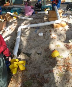 PVC pipe in sand box (the kids @ Bella's Playhouse love this)