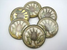 #Antique #Thistle #Buttons #Set of 6 #NBS #Glass in #Metal with #Fabric #1800s #1900s