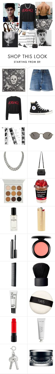 """Sin título #1365"" by tea-and-flowers ❤ liked on Polyvore featuring Alexander McQueen, Marc by Marc Jacobs, Versace, Converse, Oliver Peoples, David Yurman, Chanel, MAC Cosmetics, GHD and NARS Cosmetics"