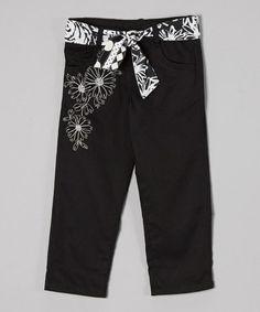 Look at this #zulilyfind! Black Embroidered Floral Capri Pants - Toddler & Girls #zulilyfinds