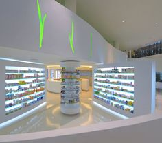 Placebo Pharmacy Design by KLab Architecture - Shop Design Gallery Pharmacy Store, Drug Store, Circular Buildings, Retail Store Design, Retail Interior, Shop Interior Design, Stores, Architecture Design, Design Inspiration