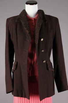 40s-50s VTG Brown Kraeler Wool Coat w/ Persian Lamb Fur Collar. Size M - $74 via eBay