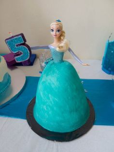 Elsa cake at a Disney Frozen Birthday Party!  See more party ideas at CatchMyParty.com!