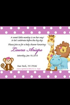 Girl Jungle theme Baby shower Invitations