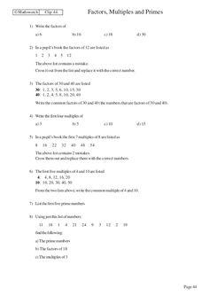 maths worksheets grade 5 factors and multiples factors Multiplication Worksheets, Number Worksheets, Worksheets For Kids, Maths, Math Games, Math Olympiad, Greatest Common Factors, Factors And Multiples, Prime Factorization