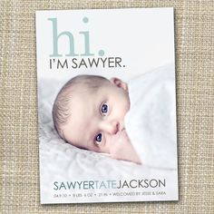 photo birth announcement - hi. i'm