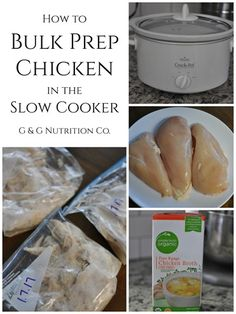 How to bulk prepare chicken breasts in the slow cooker. You can use this for shredded chicken in a meal or you can even freeze it for later.