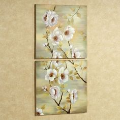 Dogwood Handpainted Canvas Wall Art Set