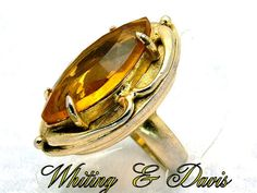 Vintage Rhinestone Ring signed Whiting and Davis with a Large Topaz Faceted Stone