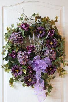Summer Front Door Wreath, Beautiful Purple Roses, Hydrangeas, Daisies, Lavender
