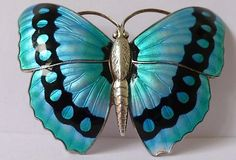 Rare Large Silver & Enamel Charles Horner Butterfly Brooch Chester 1919, Antique