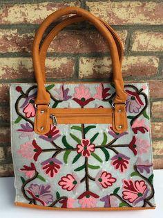 Ivory Handbag / Brown Straps, Crewel Work Flowers