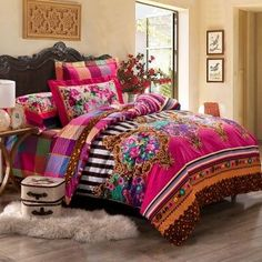 Girls Colorful Western Tribal Print Indian Classic and Luxurious Romantic Warm Twin, Full, Queen Size Bedding Sets