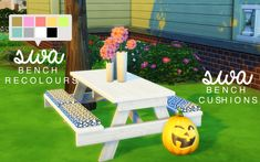 My Sims 4 Blog: Picnic Table & Cushions Set by SimminthWithAbbi