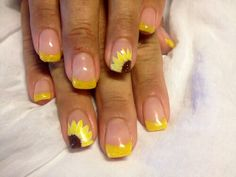 Accessories - Maid Of Honor Will Have A Yellow French Manicure With Sunflower For Her Nails