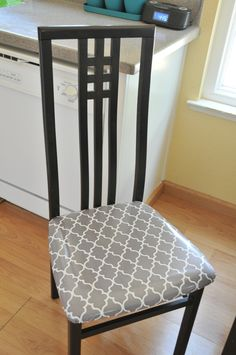 recovered my kitchen chairs with laminated fabric - super easy, inexpensive and should withstand my messy children Sunroom Decorating, Laminated Fabric, Kitchen Chairs, Holiday Sales, Repurposing, Table And Chairs, Floor Chair, Ipad Case, Diy Furniture