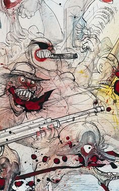 Ralph Steadman..Its good to see a little color but then he's like me in that regard ,much prefers black and white ....but theirs nothing wrong with this at all,Id really love to see a comic book like this , i would buy every one.