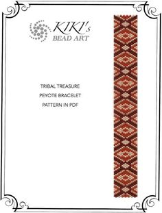 Pattern, peyote bracelet - Tribal treasure ethnic inspired peyote bracelet cuff pattern in PDF - instant download