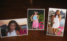 Use your child's photo (at different ages) to represent your table numbers for a Bar Bat Mitzvah celebration.