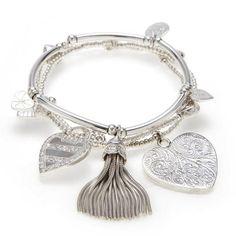 Good Charma Sterling Silver Heart and Spirit 3 Bracelet Set