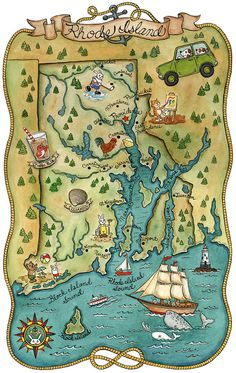Map of Rhode Island by SepiaLepus Illustrations.  Read the artist interview at http://www.iheartrhody.com/2013/02/artists-carrie-wagner-providence.html