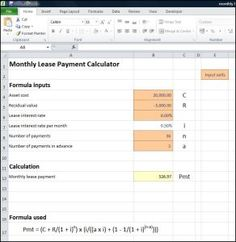 This monthly lease payment calculator works out the lease payments allowing for the cost and salvage value of an asset, and the advance payments required.