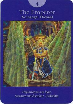 4 The Emperor - Archangel Michael, Deck: Angel Tarot Cards, by Doreen Virtue and Radleigh Valentine. Artwork by Steve A. Roberts