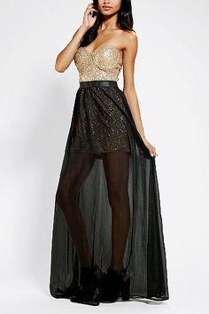 Reverse Sequin Bustier Strapless Maxi Dress