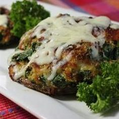 Spinach Stuffed Portobello Mushrooms | Just 15 minutes of prep!  Healthy and Delicious. Vegetarian? Use chopped red pepper instead of the pepperoni.