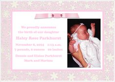 Wording in a Baby Announcement Cards