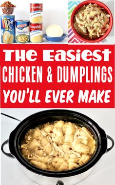 Chicken and Dumplings with Biscuits: Easy Crockpot Dinner! This cozy comfort food classic will be one of the EASIEST dinners you'll make all week! Plus the secret ingredient just sends it over the top! Go grab the recipe and give it a try this week! Delicious Crockpot Recipes, Crockpot Dishes, Crockpot Meals, Slow Cooker Recipes, Yummy Recipes, Chicken Meals, Easy Chicken Recipes, Easy Dinner Recipes, Dinner Ideas