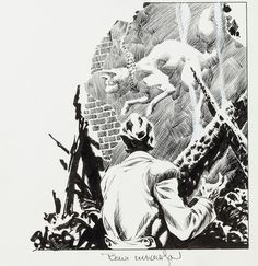 "Original art from Bernie Wrightson's adaptation of Poe's ""Black Cat,"" published in Creepy #62 (Warren, 1974)."