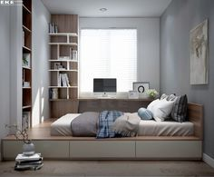 small bedroom design , small bedroom design ideas , minimalist bedroom design for small rooms , how to design a small bedroom Trendy Bedroom, Modern Bedroom, Contemporary Bedroom, Small Rooms, Small Spaces, Small Small, Platform Bedroom, Platform Beds, Small Master Bedroom