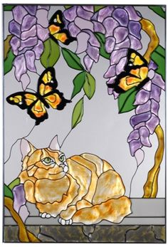 Tabby Cat and Yellow Butterfly Vertical Stained Art Glass Panel
