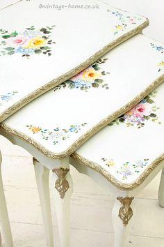 Vintage Home Shop - Pretty Hand Painted Floral Vintage Nest of Tables: www.vintage-home.co.uk