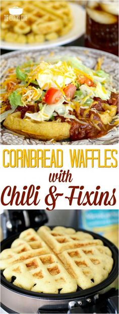 Cornbread Waffles with Chili & Fixins recipe from The Country Cook #chili #dinner #recipes #ideas #waffles