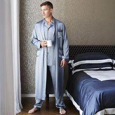 Freedomsilk 22 Momme Mens Luxury Silk Pajamas Robe Set with Trimming - Style: 3 Pcs Silk Pajama Robe Set For Men Fabric: Pure and Natural Long Stranded 22 Momme Mulberry Silk International Certification: OEKO-TEX Standard 100 Mens Silk Pajamas, Silk Pjs, Satin Pajamas, Pyjamas Silk, Mode Masculine, Silk Pijamas, Dressing Gown Pattern, Pijama Satin, Mens Sleepwear