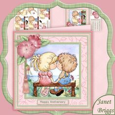 FIRST KISS Valentine Anniversary Mini Card Kit  on Craftsuprint designed by Janet Briggs - Romantic 8x8 topper with 3d step by step decoupage.Features sweet kissing couple sat on bench, by the sea.Suitable for wedding anniversary, Valentine's Day, Engagement or a romantic birthday for husband, wife, girlfriend, newly married couple etc.Kit includes1. Topper