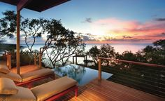 Travel + Leisure: 7 Tremendous Beach Hotels Around The World   No. 3 Lizard Island Resort, Great Barrier Reef, Australia  See More of the World's Best Beach Hotels    With 24 beaches fringing the Great Barrier Reef and accommodations for just 40 couples, Lizard Island is in a category all its own. Open-plan suites are done in royal blue, turquoise, and stark white to mimic the Coral Sea below, with hammocks and decks discreetly hidden from view. Count on sunset cruises, torchlit beach…