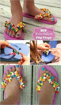 Water Balloon Flip Flops so cute 18 Adorable Diy Summer Flip Flops For Girls Just right over here, we are with the pictures of these Making Your Own Footwear - 10 DIY Shoes for Comfort and Style Cool has anyone tries this yet I did last Lear all the time Flip Flops Diy, Balloon Flip Flops, Flip Flop Craft, Flip Flop Sandals, Summer Diy, Summer Crafts, Decorating Flip Flops, Flipflops, Diy Accessoires