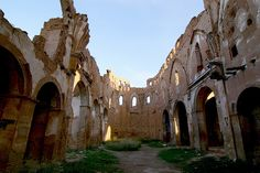 Interior San Martin de Tours Church (built in 14th century, destroyed during WW2) - Belchite, Spain