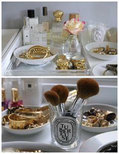 Check out these beauty storage ideas - dropdeadgor - decor ideas room Old Candles, Candle Jars, Candle Holders, Make Up Storage, Storage Ideas, Clever Closet, Closet Vanity, Ideas Para Organizar, Perfume